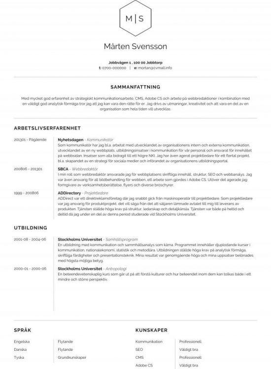 CV exempel