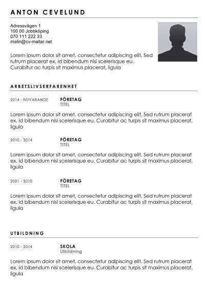 CV-mall med bild