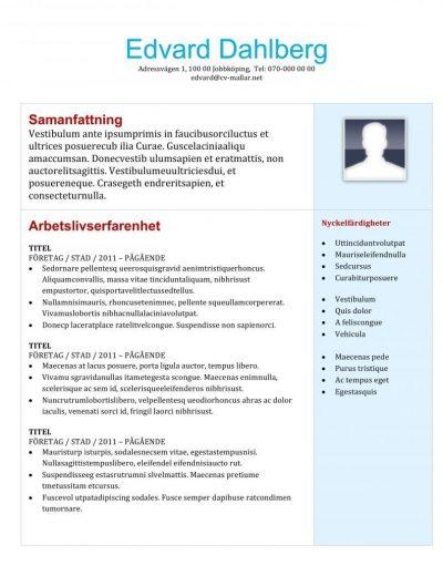 CV mall för studenter och nyexaminerade