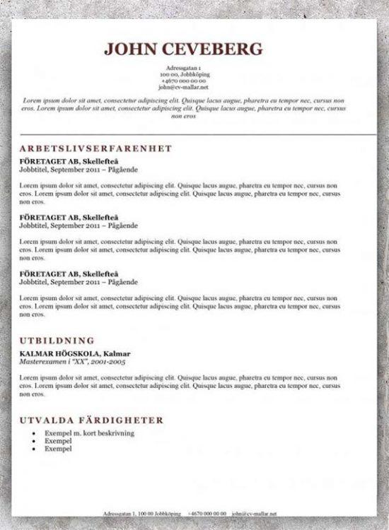 Klassisk CV mall