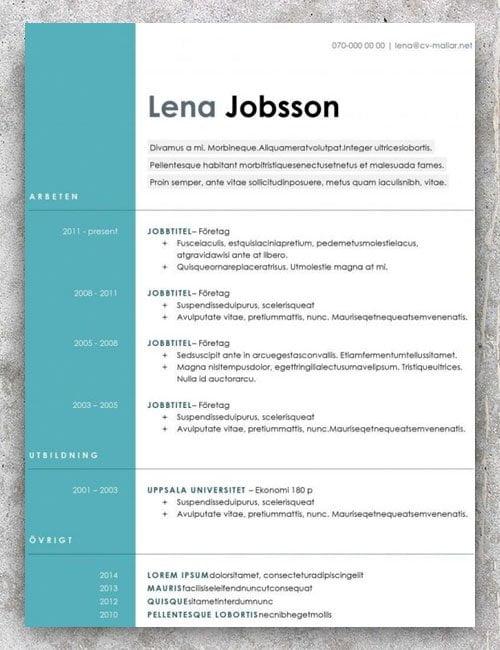 CV mall gratis nedladdning
