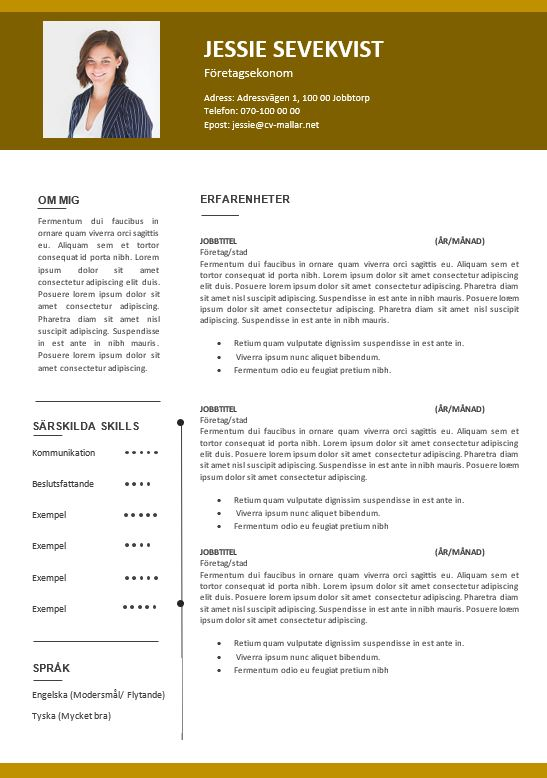 Rutinerad CV Senapsgul